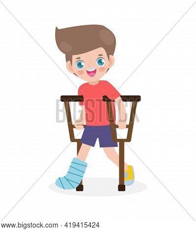 Caucasian Kid Injured With Broken Leg In Gypsum. Little Children Standing On Crutches, Cartoon Teen