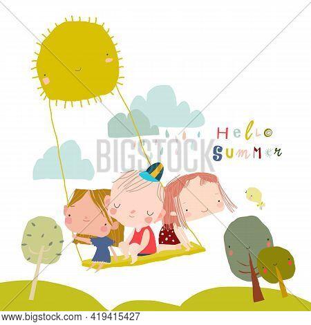 Happy Children Swinging Swing On Rays Of Sun