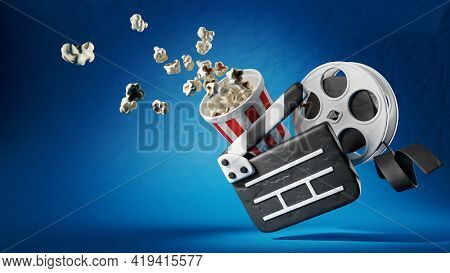 Online cinema art movie watching with clapperboard, popcorn and film-strip on disk made of modelling clay. Cinematography concept. 3d rendered Illustration.