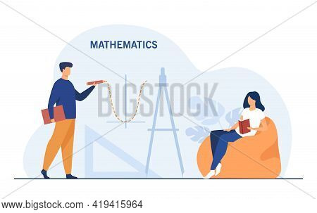 Young People Studying Mathematics. Flat Vector Illustration. Cartoon Man Drawing Function Graph And