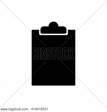 Document Holder Or Clipboard Solid Black Line Icon. Empty Paper Holder With White Sheet. Trendy Flat