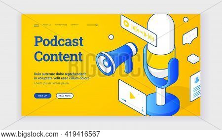Vector Illustration Of Audio Devices For Interesting Podcast Content Recording Depicted Near Descrip