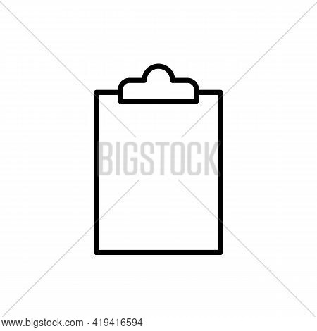 Document Holder Or Clipboard Black Line Icon. Empty Paper Holder With White Sheet. Trendy Flat Isola
