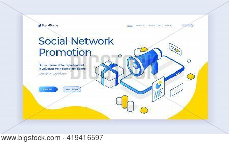 Vector Illustration Of Smartphone With Megaphone And Gift Box Representing Social Network Promotion