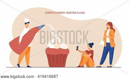 Tiny Confectioner Leading Workshop For Two Women. Flat Vector Illustration. Pastrycook Holding Pastr