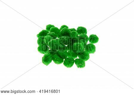 Close Up View Of Green Boilies, Fishing Baits For Carp Isolated On White Background
