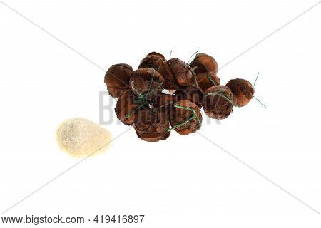 Close Up View Of Brown Boilies, Fishing Baits For Carp Isolated On White Background