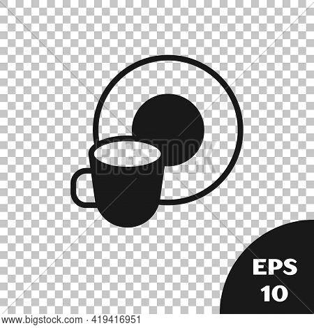 Black Washing Dishes Icon Isolated On Transparent Background. Cleaning Dishes Icon. Dishwasher Sign.