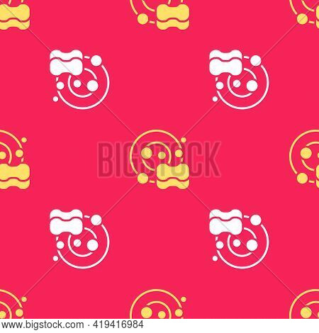 Yellow Washing Dishes Icon Isolated Seamless Pattern On Red Background. Cleaning Dishes Icon. Dishwa
