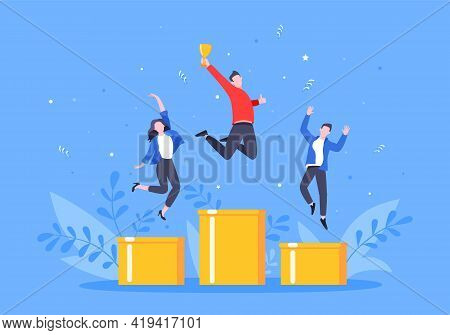 People Standing On The Podium Rank First Three Places, Jumps In The Air With Trophy Cap. Employee Re