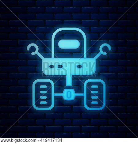 Glowing Neon Mars Rover Icon Isolated On Brick Wall Background. Space Rover. Moonwalker Sign. Appara