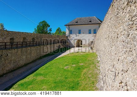 Stara Lubovna, Slovakia - 28 Aug, 2016: Courtyard Of The Inner Castle. Medieval Architecture. Popula