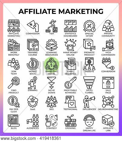 Affiliate Marketing Concept Line Icons Set In Modern Style For Ui, Ux, Web, App, Brochure, Flyer And