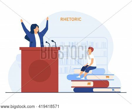Cartoon Boy Dreaming Of Becoming Orator. Flat Vector Illustration. Tiny Boy Sitting On Giant Book He