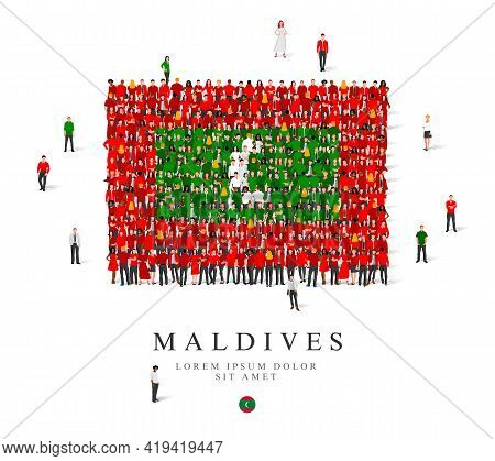 A Large Group Of People Are Standing In Green, White And Red Robes, Symbolizing The Flag Of The Mald