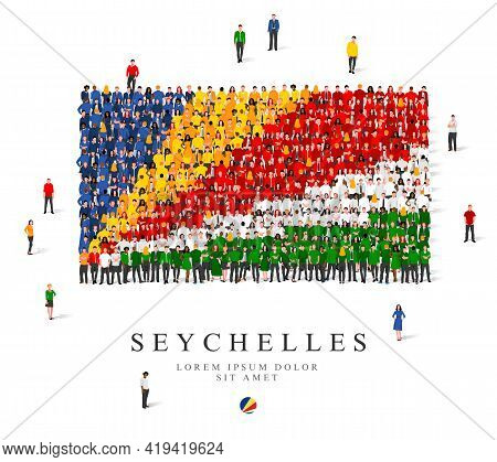 A Large Group Of People Are Standing In Blue, Yellow, Green, White And Red Robes, Symbolizing The Se