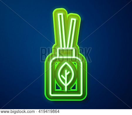 Glowing Neon Line Aroma Diffuser Icon Isolated On Blue Background. Glass Jar Different With Wooden A