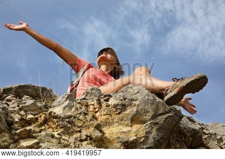 Happy Girl On Top Of A Hill In Silence And Loneliness Admires A Tranquil Natural Landscape In Search