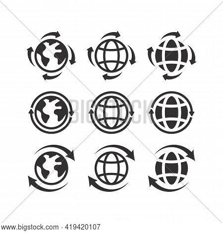 Globe Planet With Arrows Black Vector Icon Set. Reload Or Loop Website Earth Arrow Symbol.