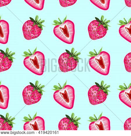 Colourful Seamless Pattern With Pink Strawberries On Light Blue Background. For Print, Packaging, Te