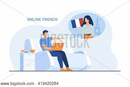 Cartoon Man Learning French Online. Flat Vector Illustration. Young Man Sitting In Chair And Studyin