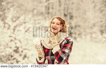 Look At This. Girl Make And Play Snowball. Winter Activity. Happy Woman Enjoy Winter Landscape. Woma