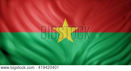 3d Rendering Of A National Burkina Faso Flag.