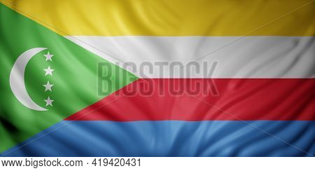 3d Rendering Of A National Union Of Comoros Flag.