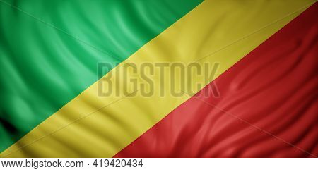 3d Rendering Of A National Congo Flag.