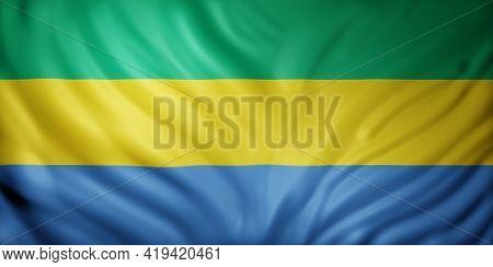 3d Rendering Of A National Gabon Flag.