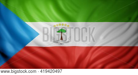 3d Rendering Of A National Equatorial Guinea Flag.