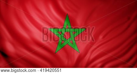 3d Rendering Of A National Morocco Flag.