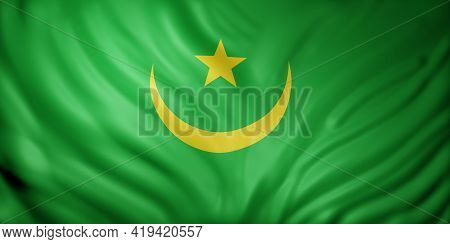 3d Rendering Of A National Mauritania Flag.