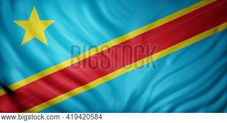 3d Rendering Of A National Democratic Republic Of Congo Flag.