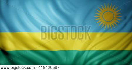 3d Rendering Of A National  Rwanda Flag.
