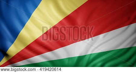 3d Rendering Of A National Seychelles Flag.