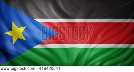 3d Rendering Of A National South Sudan Flag.