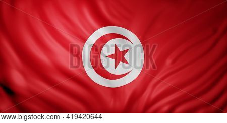 3d Rendering Of A National Tunisia Flag.