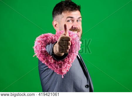 Bearded Man In Formal Suit. Stylish Esthete With Decorative Heart. Valentines Day Holiday. Love. Wed