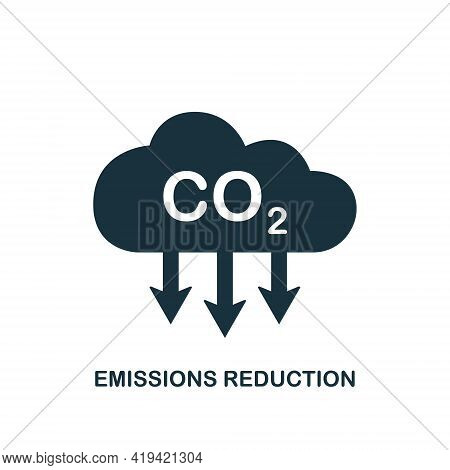 Co2 Icon. Emissions Reduction Of Carbon Gas. Black Cloud Of Co2 Gas. Decrease Pollution Icon. Carbon