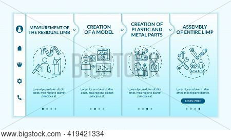 Artificial Limb Production Steps Onboarding Vector Template. Responsive Mobile Website With Icons. W