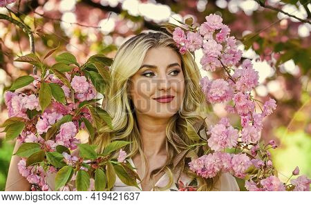 Happy Spring Day. Harmony And Female Energy. Spring Symbol. Girl Enjoy Sakura In Garden. Cherry Tree
