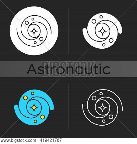 Galaxy Dark Theme Icon. Gravitationally Bound System Of Stars And Planets That Are Spinning Around.