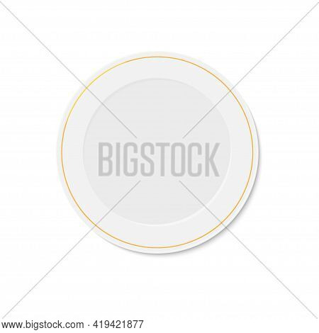 White Plate With Gold Rim On White Background. Household Utensils And Cutlery. Empty Round Shape Pla