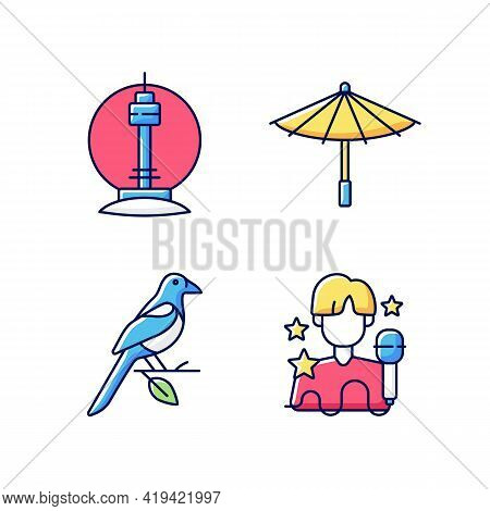 Korean Traditions Rgb Color Icons Set. N Seoul Tower. Traditional Umbrella. Oriental Magpie. K Pop M