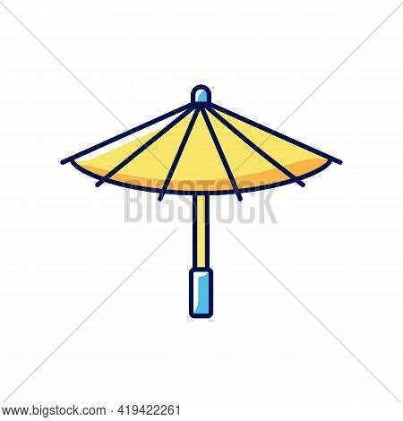 Korean Umbrella Rgb Color Icon. Bamboo And Paper Parasol. Ethnic Japanese Accessory. Seoul Travel, O