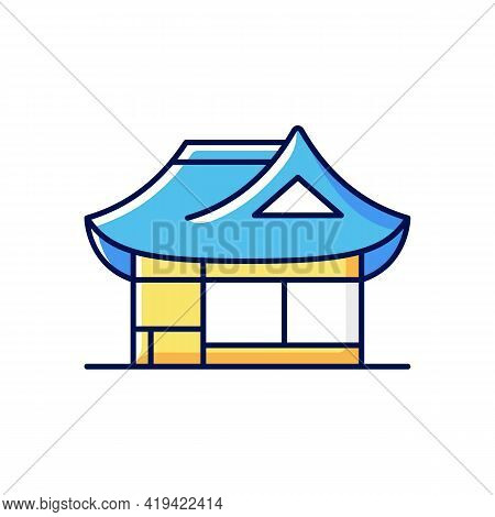 Hanok Rgb Color Icon. Traditional Architecture. Ethnic Asian Building. Classical Oriental Home. East