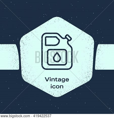 Grunge Line Canister For Gasoline Icon Isolated On Blue Background. Diesel Gas Icon. Monochrome Vint