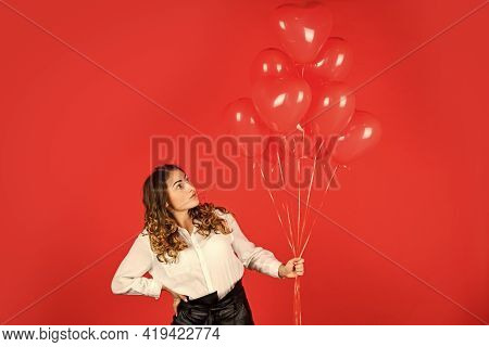 Surprise With Love. Helium Balloons For Party. Gift For Girlfriend. Festive Mood. Impressive Present