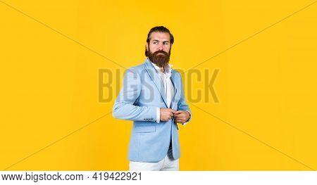 Male Natural Beauty. Hairdresser Concept. Brutal Handsome Man With Moustache. Mature Bride Groom On
